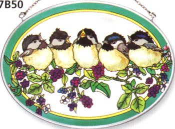 Amia Hand Painted Glass Suncatcher with BlackBerry Chick Design, 5-1/4-Inch by 7-Inch Oval