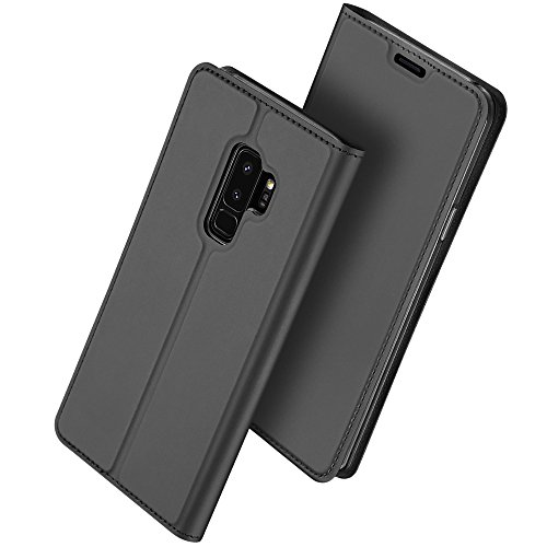 Galaxy S9 Plus Case, HXAYR Shockproof Slim Fit Luxury Skin Leather Wallet Case with Card Holder Slot [Kickstand][Magnetic Closure] Flip Cover Protective Phone Case for Samsung Galaxy S9+/S9 Plus, Gray