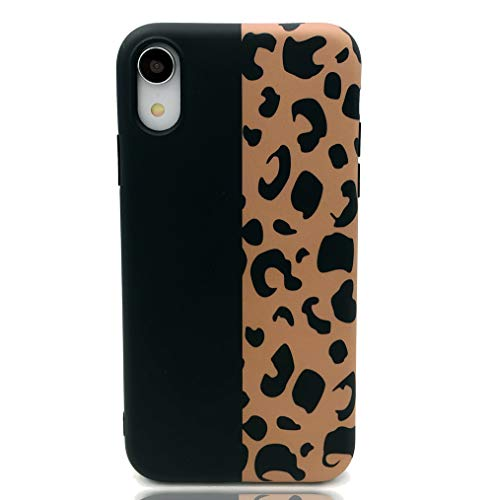 - HUIYCUU Case Compatible with iPhone XR Case, Brown Design Slim Fit Soft TPU Leopard Print Pattern Shockproof Thin Protective Girl Women Floral Bumper Back Cover for iPhone Xr, Black