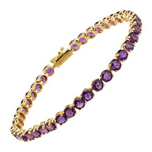 Natural Amethyst Tennis Bracelet in 14K Yellow Gold, 7