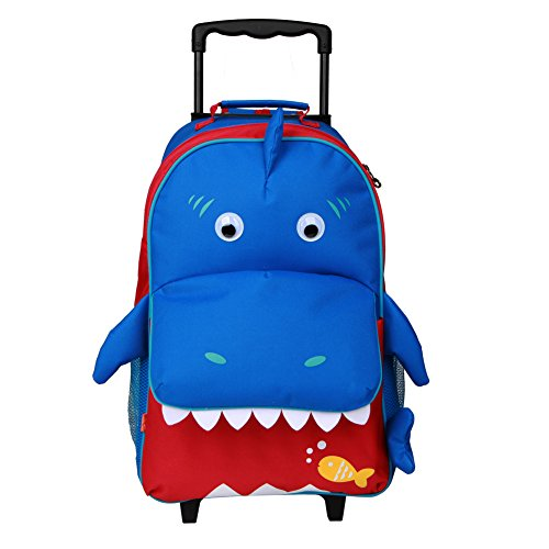 Yodo Upgraded Large Convertible 3-Way Kids Suitcase Rolling Luggage or Toddler Backpack with Wheels, Large Front Quick Access Pouch for Snacks or Knickknacks, Shark (Shop Rolling Luggage)