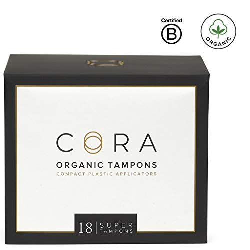 Cora Organic Cotton Tampons with BPA-Free Plastic Compact Applicator; Chlorine & Toxin Free - Super (18 Count)