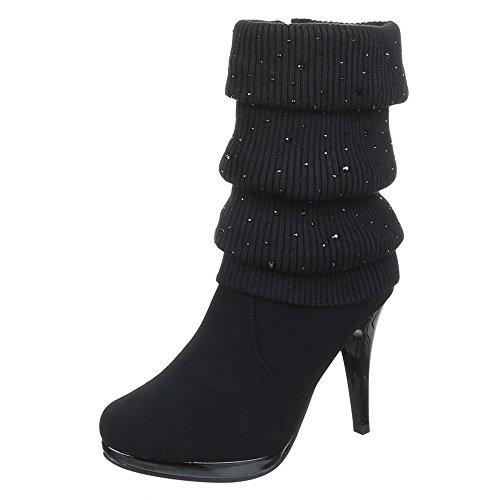 f157866ea116c Damen Schuhe Stiefeletten High Heel Schwarz Blau Braun 36 37 38 39 40 41  Schwarz