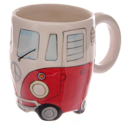 Volkswagen - Red Ceramic Shaped Coffee Mug / Cup (VW Camper Van) By - Ceramic Travel Mug Angel
