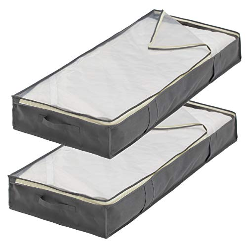 (Sami Time Jumbo Bamboo Underbed Storage Zippered Bags for King Comforter Clothing, Linens,Shoes-Set of 2)