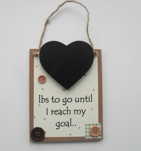 Weight Loss Chalkboard Pounds to go Until I Reach my Goal Chalkboard Countdown Wooden Keepsake Plaque by Craftworks (Goal Plaque)