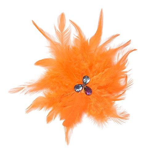 MiDee Neon Rhinestone Feather Hair Flower Dance Headpiece Accessories (Orange)