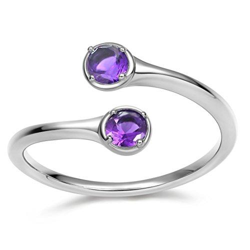 Silver June Birthstone Ring - EAMTI Wrap Adjustable 925 Sterling Silver Alexandrite Cubic Zirconia June Birthstone Wedding Engagement Ring