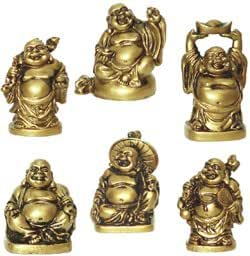 happy laughing figurine buddha statue set of 6 2 inches bonze home kitchen. Black Bedroom Furniture Sets. Home Design Ideas