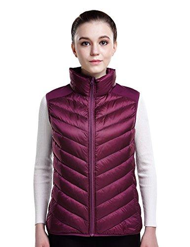 - puredown Women's Lightweight Down Packable Puffer Vest, Fuchsia, S Size