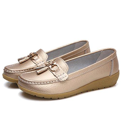 Mocasines Con Borlas De Cuero Para Mujer Nine Cif Slip On Work Zapatos Gold