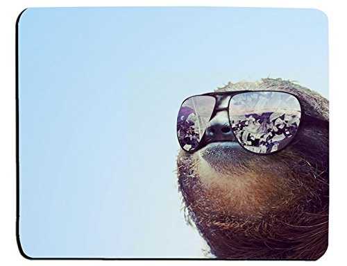 Hipster Sloth Wearing Sunglasses Gaming Mouse Pad Mat Mousepad with Non-Slip Rubber ()