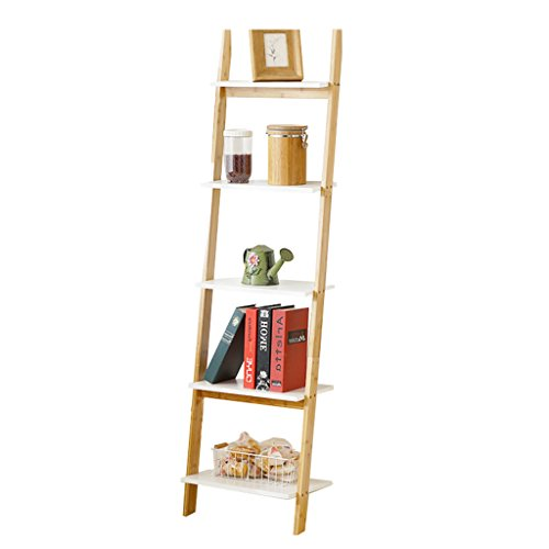 (5-Tier Bamboo Standing Shelf Bathroom Wood Organization Storage Rack Standing Shelving Unit Living Room Trapezoidal Bookcase Cube Kitchen Cabinet Bookshelf Display Shelves Flower Rack)