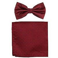 jacob alex #46532 Mens Pre-tied Bow Tie and Pocket Square Hankie Burgundy Navy Blue Polka Dots