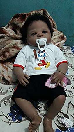 Angelbaby Doll 23 inch 57cm Rarely African American Reborn Baby Doll Baby Black Boy Doll Handcrafted in Silicone Vinyl Full Body Toy