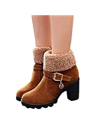 Women's Party Dress Short Boots, Winter Warm Chunky High Heels Platform Zip Plush Fold-Down Snow Boots
