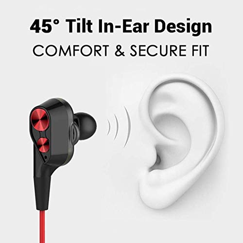 PTron Boom 2 Headphone 4D Deep Bass Stereo Earphone Dual Driver Sport Wired Headset with Mic for All Smartphones (Black/Red) 6
