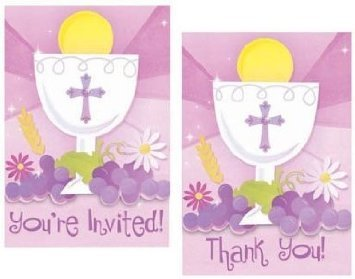 First Communion Invitation and Thank You Cards Combo 20 Piece Pack Pink First Communion Card