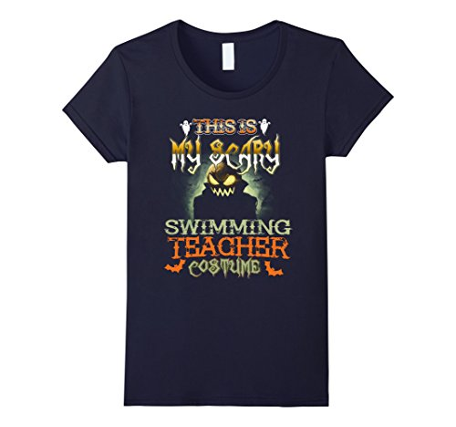 Swimming Costume For Ladies Amazon (Womens This is My Scary Swimming Teacher Costume Halloween Shirt Small Navy)
