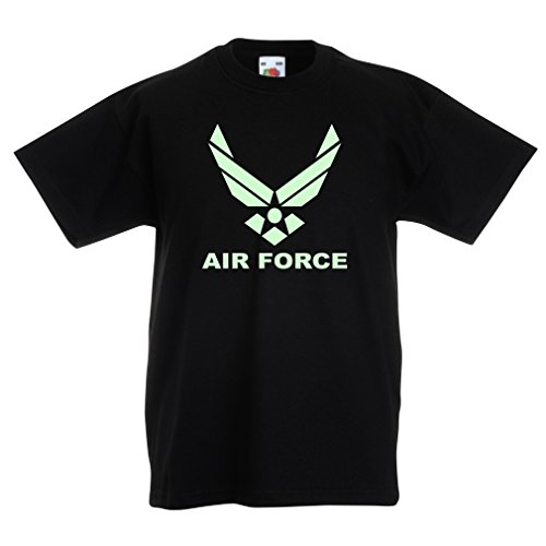 (Kids Boys/Girls T-Shirt United States Air Force (USAF) - U. S. Army, USA Armed Forces (9-11 Years Black Fluorescent))