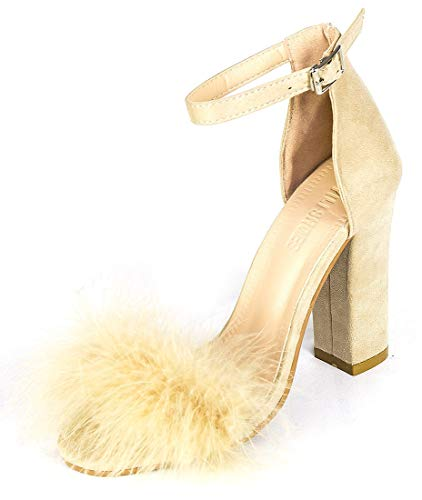Women's High Heel Platform Dress Pump Sandals Ankle Strap Block Chunky Heels Party Shoes - Beige ()