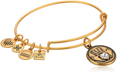 Gold Shamrock Charm - Alex and Ani Charity By Design, Claddagh Rafaelian Gold Bangle Bracelet
