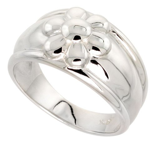 Freeform Ring (Sterling Silver Flawless Quality High Polished Freeform Ring 1/2