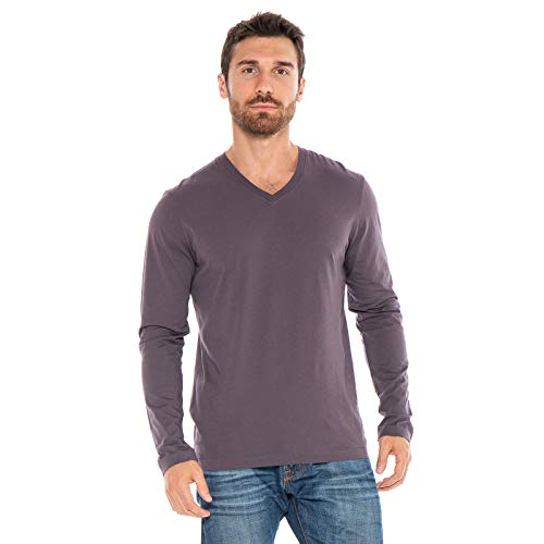- Men's Designer T-Shirt Lightweight Semi Fit Long Sleeve V-Neck 100% Organic Cotton Pre-Shrunk Embroidered - Made in USA (Purple, Medium)