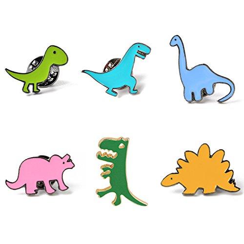 KimYoung Lemoo Cute Enamel Lapel Pin Sets Carton Animal Brooch Pin (Dinosaurs Set of -