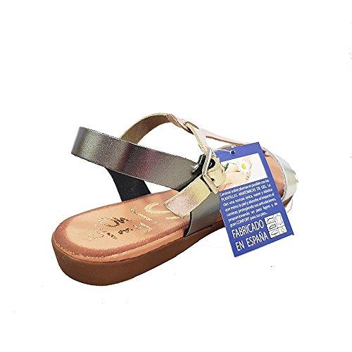 Sandalia piel plomo multi tira empeine. Talla 39