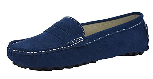 V.J Women's Classic Handsewn Suede Leather Driving Moccasins Penny Loafers Casual Slip On Fashion Boat Shoes VJ6088A-SL105