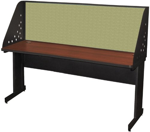 Pronto Pronto School Training Table with Carrel and Modesty Panel Back, 72W x 24D - Dark Neutral Finish and Peridot Fabric by Marvel Furniture