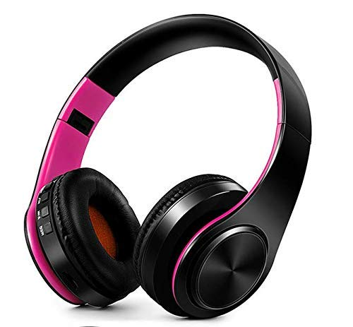 ZKUROZOXY Bluetooth Headphones On Ear Stereo Wireless Headset Wireless Headphone Headset with Microphone for PC Cell Phones TV (Rose-Black)