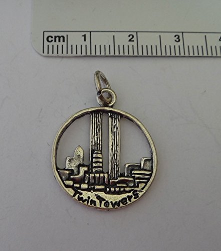 Sterling Silver 20 mm Round New York World Trade Center Twin Towers Charm Jewelry Making Supply, Pendant, Sterling Charm, Bracelet, Beads, DIY Crafting and Other by Wholesale Charms