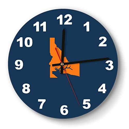 saedes Idaho State Elk Hunting Wall Clock Classic Digital Clock Round Easy to Read Home/Office/School Clock,Wall Clocks Silent Battery Operated