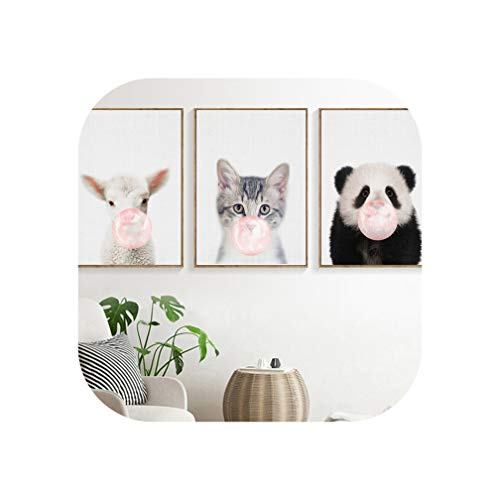 Panda Sheep Cat Blowing Bubbles Wall Art Canvas Painting Nordic Posters and Prints Wall Pictures for Living Room Art Print Decor,30X40 cm No Framed,3Pcs Set (Panda Bilderrahmen)