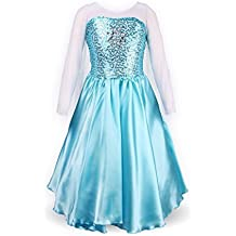 ReliBeauty Girls' Princess Elsa Fancy Dress Costume (5, Sky Blue)