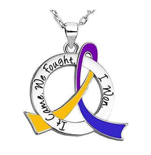 It Came. We Fought. I Won. Survivor Necklace Bladder Cancer (Purple, Blue, Marigold Ribbon)