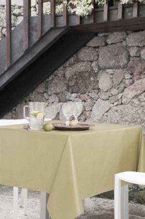 Mantel antimanchas cuadrado Olimpia 50% algodón 50% poliéster, resinado y con Teflón de Dupont® - 150x150 - Liso arena: Amazon.es: Hogar