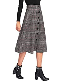 Women's Vintage A-Line Button High Waisted Plaid Midi Knee Length Skirt
