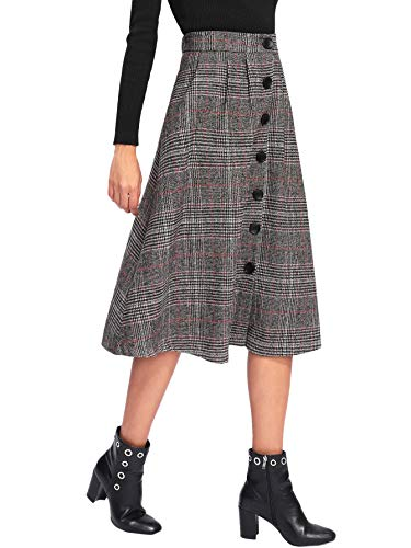 WDIRARA Women's Vintage A-Line Button High Waisted Plaid Midi Knee Length Skirt Grey M -