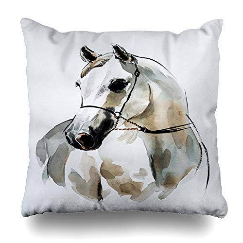 Arabian Horse Paintings - Ahawoso Throw Pillow Cover Doha Watercolor Qatar Arabian Horse Painting Abstract Oil East Horses Design Decorative Pillowcase Square Size 16