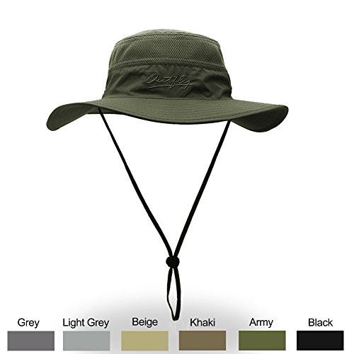WELKOOM Sun Hat Men Women, Wide Brim UPF 50 UV Protection Beach Cap, Breathable Outdoor Boonie Hats Adjustable Drawstring Design, Perfect Hiking, Fishing, Camping, Boating Safari