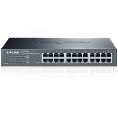 TP-LINK #TL-SG1024DE 24-Port Gigabit Easy Smart Switch with 24 10/100/1000 Mbps RJ45 Ports, MTU/Port/Tag-Based VLAN, QoS and IGMP