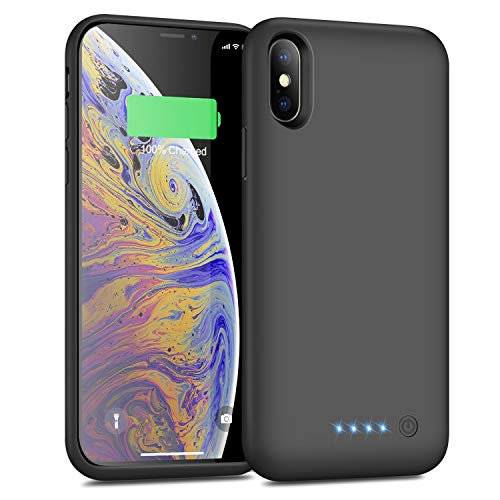 Battery Case for iPhone X/XS 6500mAh,Yacikos Portable Protective Charger Case Rechargeable Extended Battery Pack Charging Case for iPhone X/XS/10 (5.8 inch) Ultra Slim Backup Cover Power Bank - Black