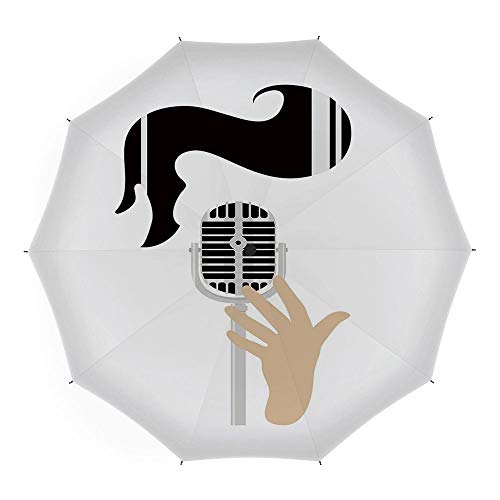 Compact Folding Travel Umbrella Windproof Waterproof,Elvis Presley Decor,10 Ribs Finest Windproof Umbrella with Teflon Coating, Auto Open Close and Upgraded Comfort Handle 45 Inch,Vintage Microphone -