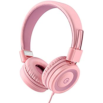 Besom i36 Wired Headphones for Kids Girls Boys Teens Adults Stereo Foldable On-Ear Headset with Microphone 3.5mm Jack for iPad iPhone Kindle Mp3/4 Tablet School Airplane Gift Purple/Pink On-Ear Headphones Headphones