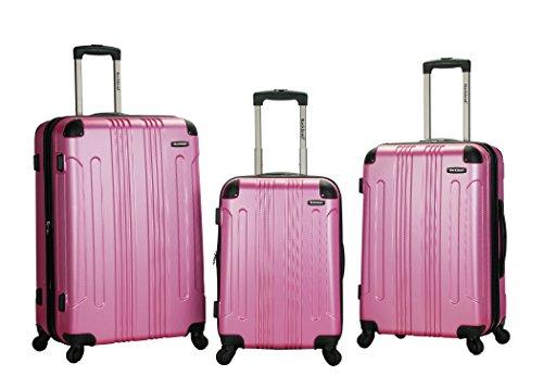 Rockland Luggage 3 Piece Abs Upright Luggage Set, Pink, Medium