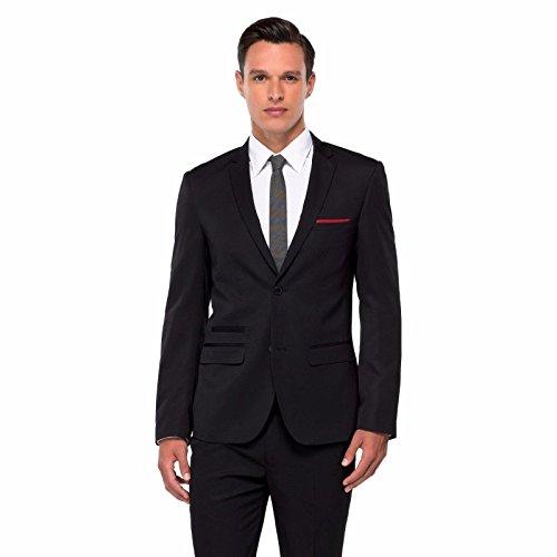 WD.NY BLACK Label Men's Blazer, Solid, Black, Slim Fit, Medium, Bonus Pocket Square Included