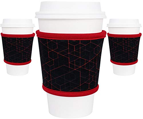 Moxie Coffee Cup Sleeves - Premium Neoprene Insulated Reusable Coffee & Tea Cup Sleeves - Best for 12oz-24oz Cups at Starbucks, McDonalds, Peets, Caribou Coffee (3 Pack - Redline)